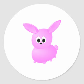 Conejo de conejito rosado lindo etiqueta redonda
