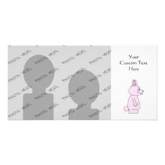 Conejo de conejito rosado lindo tarjetas con fotos personalizadas