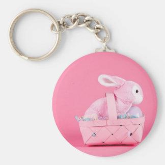 Conejo de conejito rosado llavero redondo tipo pin
