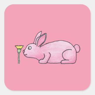 Conejo de conejito rosado calcomanía cuadradase