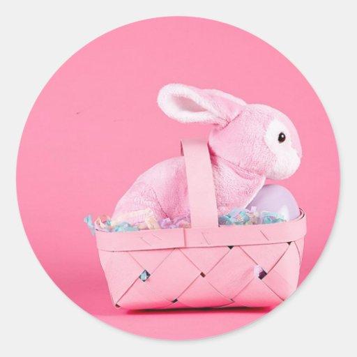 Conejo de conejito rosado pegatina redonda