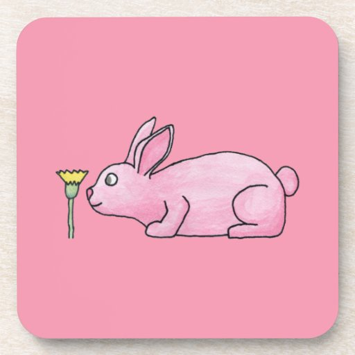 Conejo de conejito rosado posavaso