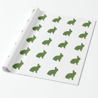 Conejo de conejito verde y blanco de pascua del papel de regalo
