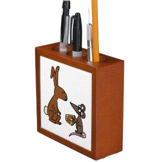 Conejo de conejito y dibujo animado del ratón organizador de escritorio