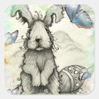 Conejo de conejito y pegatina de la mariposa