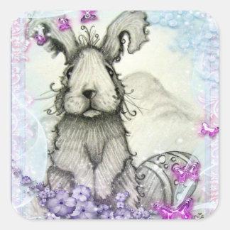 Conejo de conejito y pegatina de las flores
