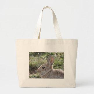 Conejo de conejo de rabo blanco bolsa tela grande
