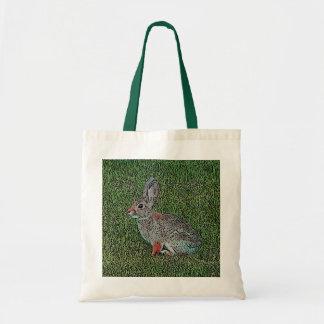 Conejo de conejo de rabo blanco que se sienta en h bolsa tela barata