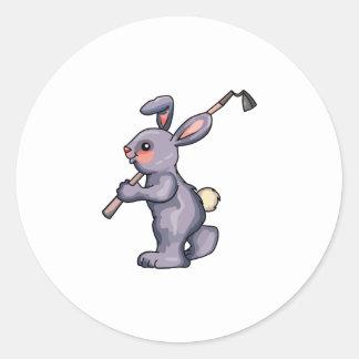 Conejo de la azada pegatina redonda