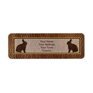 Conejo de la Cuero-Mirada Etiqueta De Remite