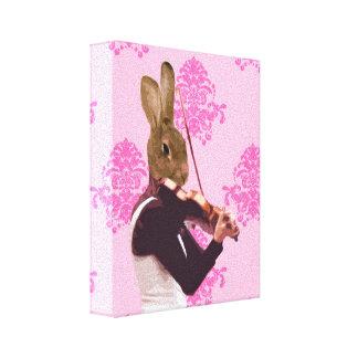 Conejo de la diversión que toca el violín impresión en lienzo