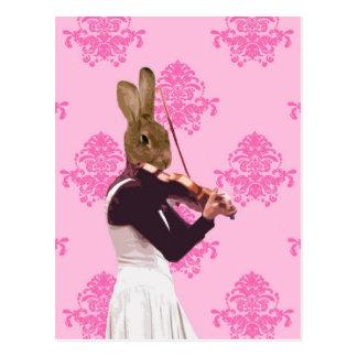 Conejo de la diversión que toca el violín postal