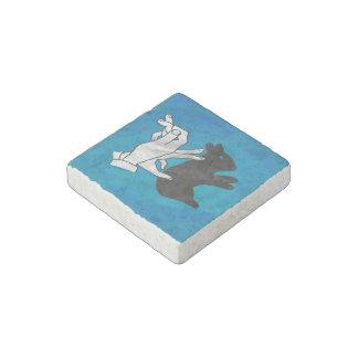 Conejo de la sombra en azul imán de piedra