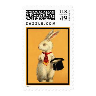 Conejo de la tripleta del mago mágico del vintage sello