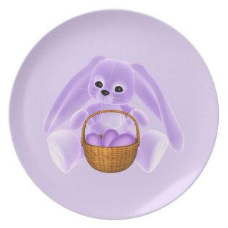Conejo de Pascua de la lila Plato De Comida