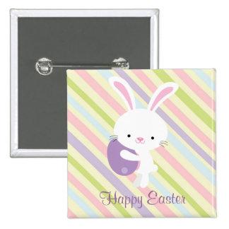 Conejo de Pascua del dibujo animado con el botón d Pin