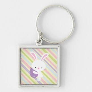 Conejo de Pascua del dibujo animado con llavero de