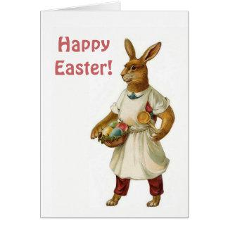 Conejo de Pascua del vintage con los huevos de Tarjeta De Felicitación