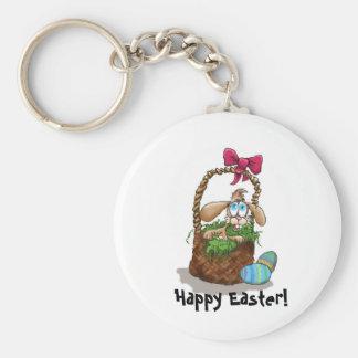 Conejo de Pascua en una cesta Llaveros Personalizados