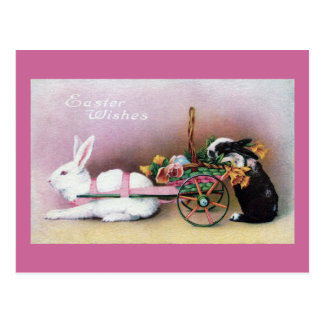 Conejo de Pascua que tira del carro de la flor Tarjeta Postal