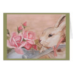 Conejo de Pascua y tarjeta de los rosas