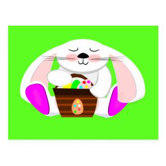 Conejo de Pascua y una cesta de huevos Tarjeta Postal