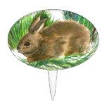 Conejo de rabo blanco de reclinación - acuarela decoraciones para tartas