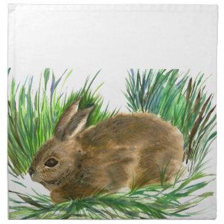Conejo de rabo blanco de reclinación - acuarela servilleta de papel