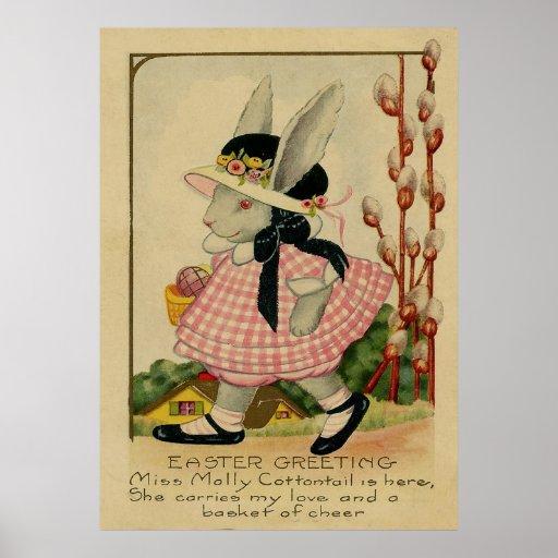 Conejo de rabo blanco Pascua de Molly Póster