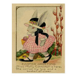 Conejo de rabo blanco Pascua de Molly Tarjeta Postal
