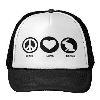 Conejo del amor de la paz gorras