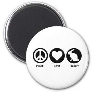 Conejo del amor de la paz imán redondo 5 cm