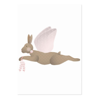 Conejo del ángel de Brown con las alas rosadas Plantilla De Tarjeta Personal