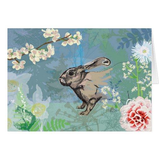 conejo del arbolado tarjeta de felicitación