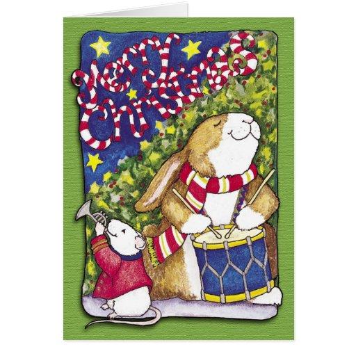 Conejo del batería, tarjeta de Navidad