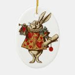 Conejo del blanco de Alicia del vintage Ornamento De Reyes Magos