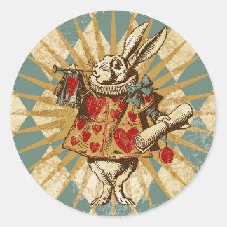 Conejo del blanco de Alicia del vintage Pegatina Redonda