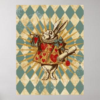 Conejo del blanco de Alicia del vintage Póster