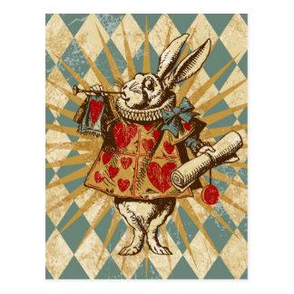 Conejo del blanco de Alicia del vintage Postal