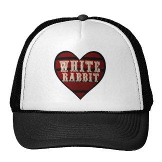 Conejo del blanco del corazón del vintage gorros