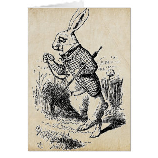 Conejo del blanco del vintage felicitación
