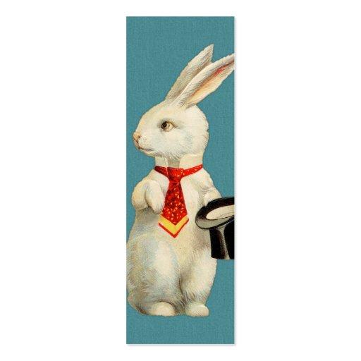 Conejo del blanco del vintage tarjeta de visita