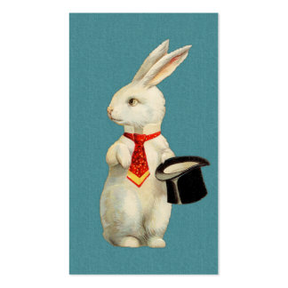 Conejo del blanco del vintage tarjetas de visita