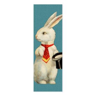 Conejo del blanco del vintage tarjetas de visita mini