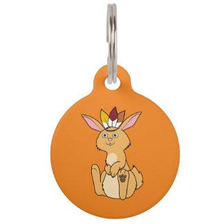 Conejo del cervatillo de la acción de gracias con placa para mascotas