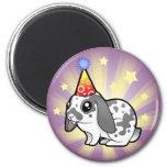 Conejo del cumpleaños (pelo liso del oído flojo) imanes de nevera