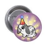 Conejo del cumpleaños (pelo liso del oído flojo) pin redondo de 2 pulgadas