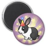 Conejo del cumpleaños (pelo liso del oído uppy) iman de frigorífico