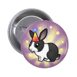 Conejo del cumpleaños (pelo liso del oído uppy) pins