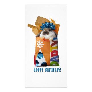 Conejo del cumpleaños tarjetas fotográficas personalizadas